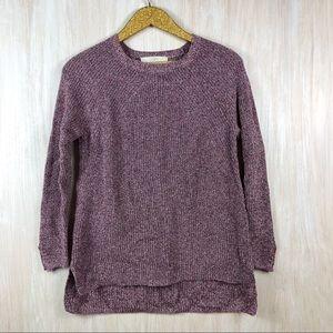 LOFT Marled Pink Purple Rib Knit Sweater